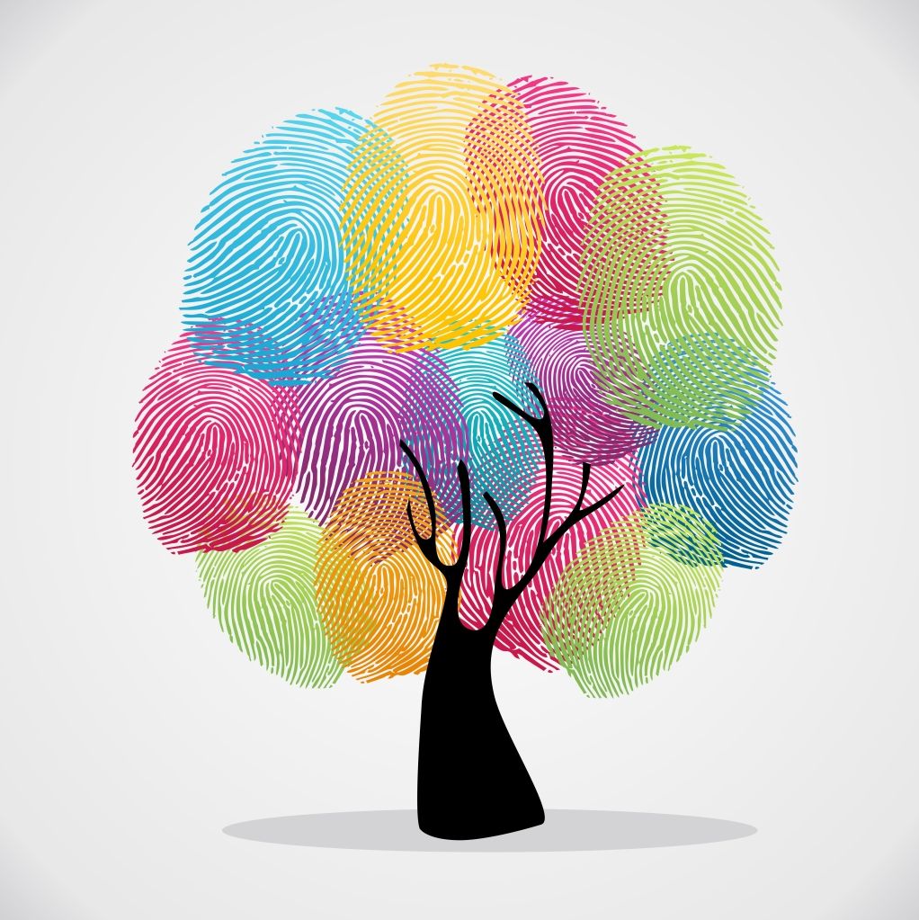 Diversity color tree finger prints illustration background set. Vector file layered for easy manipulation and custom coloring.