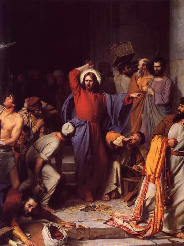 Expulsa vendilhões no Templo